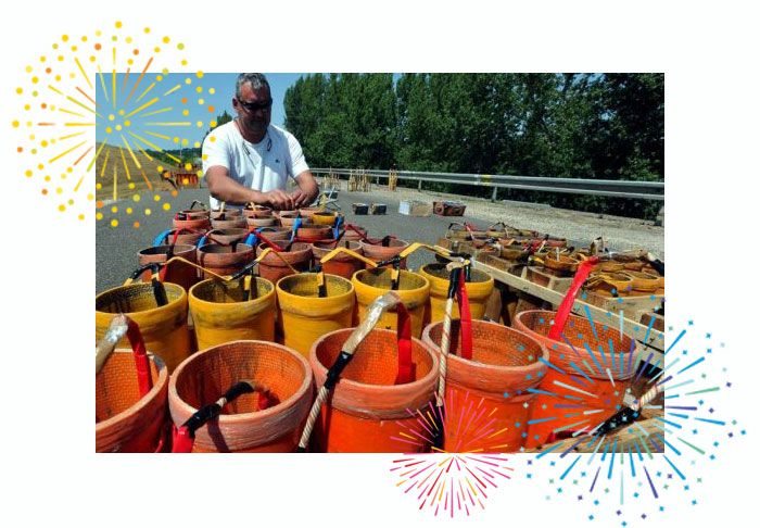 mise en place d'un feu d'artifice